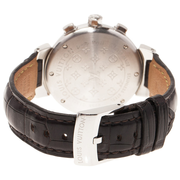 Louis Vuitton Brown Stainless Steel Tambour Women's Wristwatch 34MM
