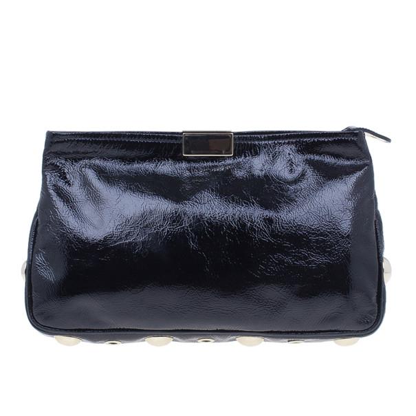 Jimmy Choo Black Leather Zulu Clutch