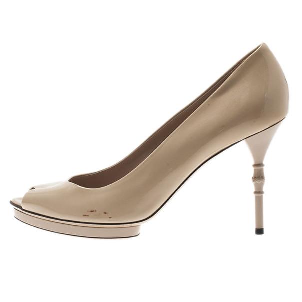 Gucci Nude Patent Bamboo Heel Peep Toe Platform Pumps Size 39.5