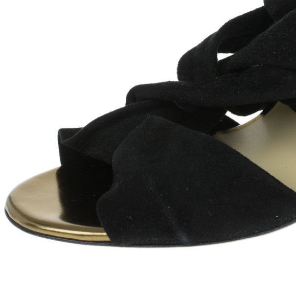 Jimmy Choo Black Suede 'Kami' Knotted Sandals Size 40