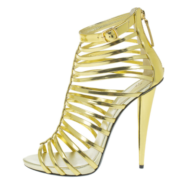 Giuseppe Zanotti Gold Mirrored Leather Caged Booties Size 40.5