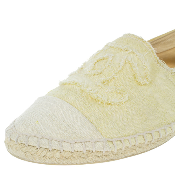 Chanel Yellow Canvas Espadrilles Flats Size 37