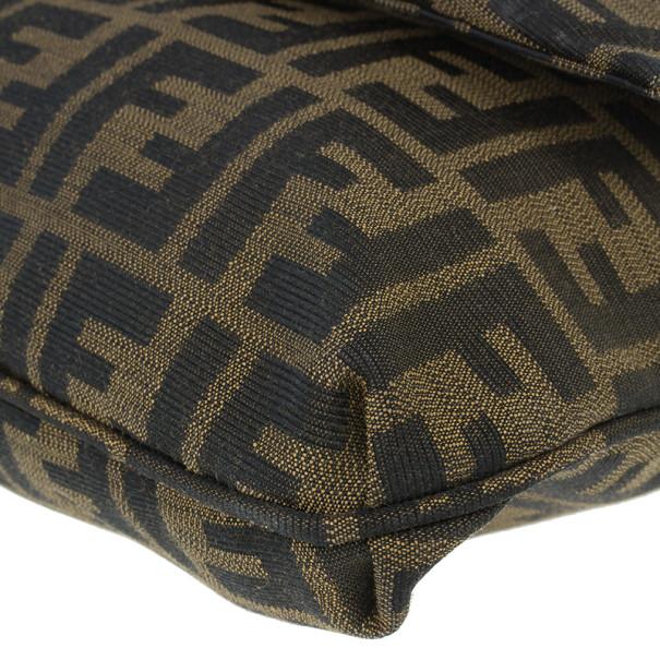 Fendi Brown Logo Jacquard Mia Zucca Flap Bag