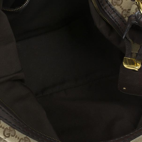 Gucci Beige Monogram GG Jockey Hobo