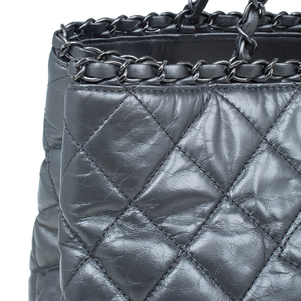 Chanel Metallic Silver Quilted Leather Chain Me Tote