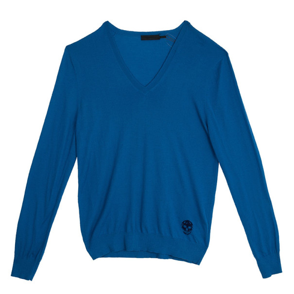 Alexander McQueen Blue Skull Detailed Sweater XL