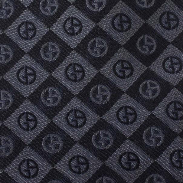 Giorgio Armani Black Silk Monogram Tie