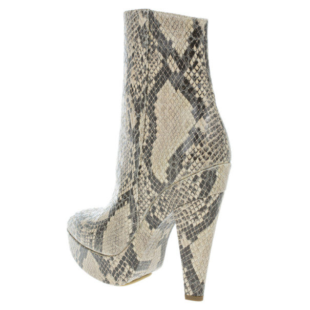 Stella McCartney Snake Effect Faux Leather Ankle Boots Size 39