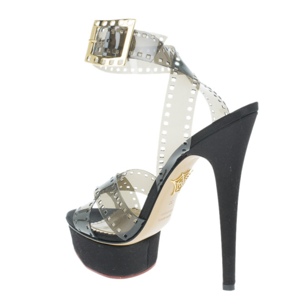 Charlotte Olympia Black Vinyl and Satin Girls On Film Platform Sandals Size 38