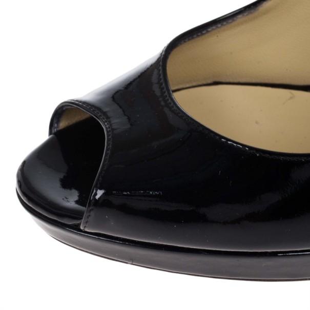 Jimmy Choo Black Patent Quiet Peep Toe Platform Pumps Size 38
