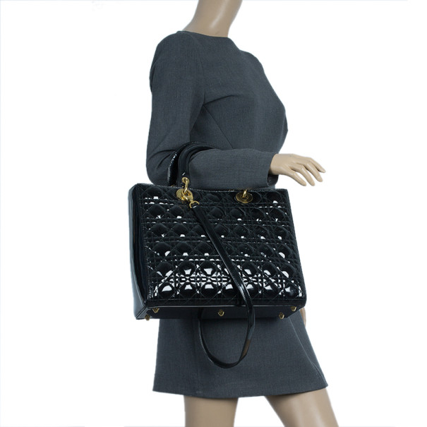 Dior Black Patent Leather Large Lady Dior