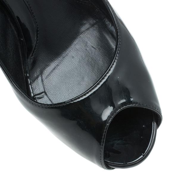 Fendi Black Patent Leather Zucca Print Heel Peep Toe Pumps Size 38.5