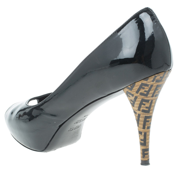 Fendi Black Patent Leather Zucca Print Heel Peep Toe Pumps Size 38.5