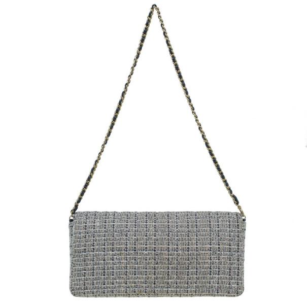Chanel Black Tweed Quilted East West Flap Bag