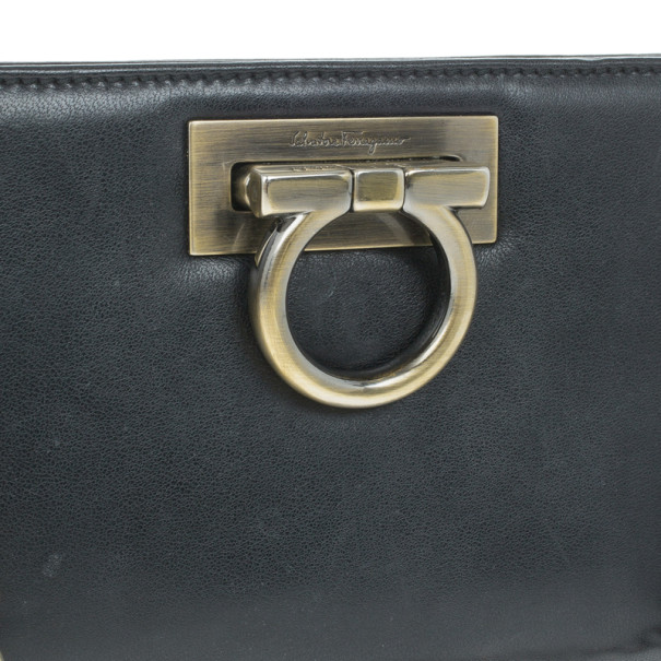 Salvatore Ferragamo Black Leather Norina Clutch