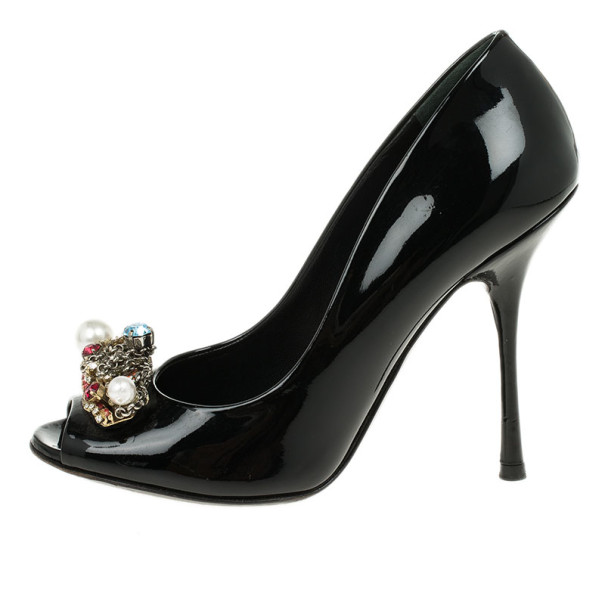 Dolce and Gabbana Black Patent Crystal Embellished Peep Toe Pumps Size 37