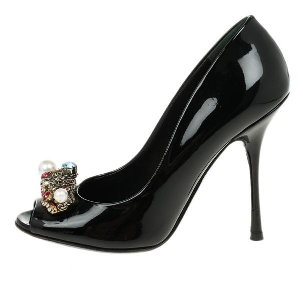 Dolce and Gabbana Black Patent Crystal Embellished Peep Toe Pumps Size 37