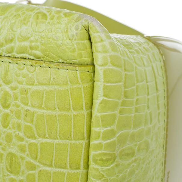 Furla Green Croc Embossed Candy Satchel