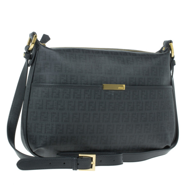 Fendi Black Zucchino Leather Spalmati Crossbody Bag