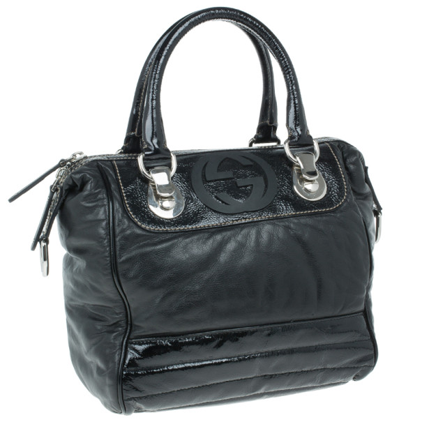 Gucci Black Snow Glam Small Boston Bag