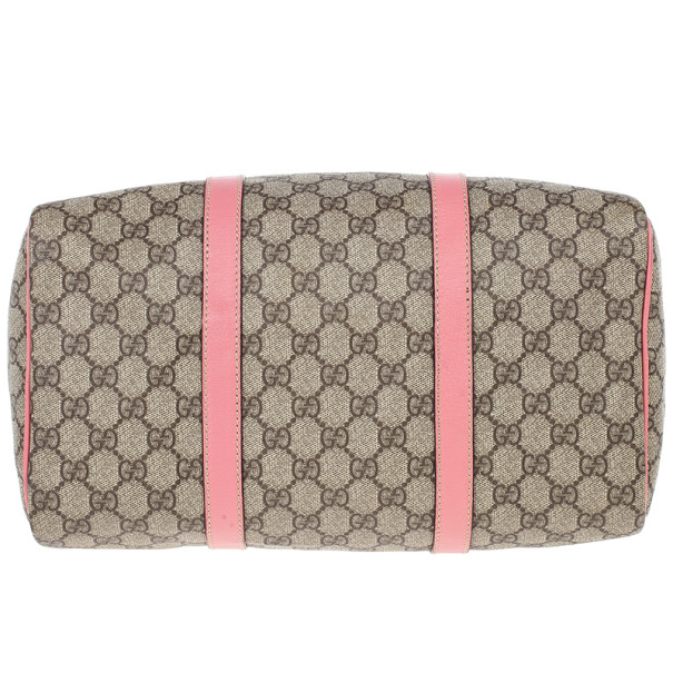 Gucci Pink Web Original GG Canvas Boston Bag