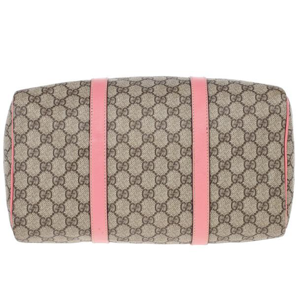 Gucci Pink Web Original GG Canvas Boston Bag
