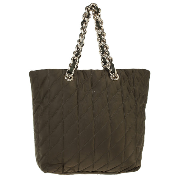 Carolina Herrera Green Nylon Quilted Tote