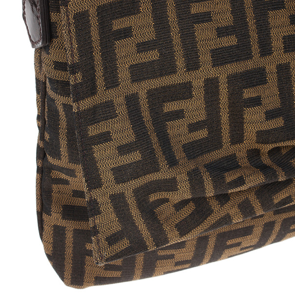 Fendi Brown Logo Jacquard Mia Zucca Flap Bag