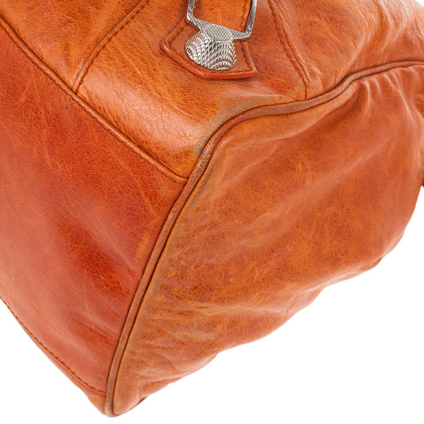 Balenciaga Orange Lambskin Giant Mid Day Satchel