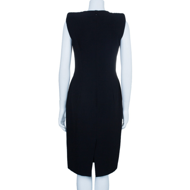 Alexander McQueen Black Fitted Midi Dress M