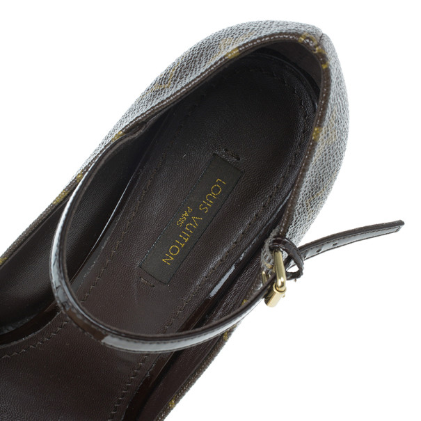 Louis Vuitton Monogram Canvas Mary Jane Platform Pumps Size 37