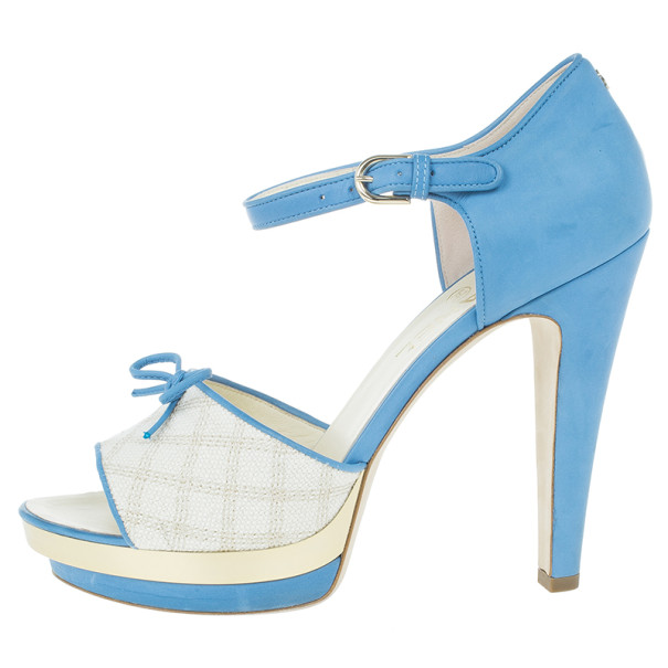 Chanel Blue and Cream Leather Ankle Strap Sandals Size 39