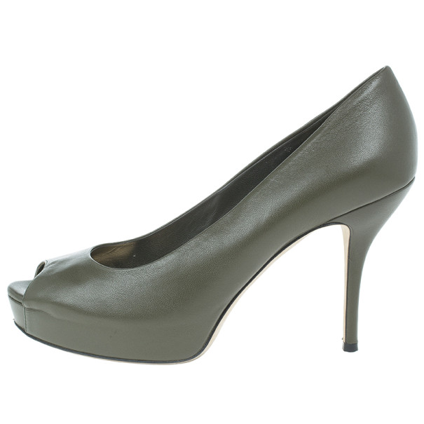 Gucci Green Leather 'Sofia' Peep Toe Platform Pumps Size 38.5