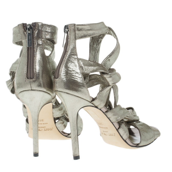Jimmy Choo Metallic Suede Knotted Kemble Sandals Size 38 .5