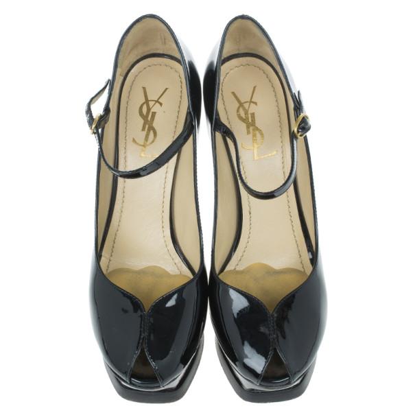 Saint Laurent Paris Black Patent Tribute Mary Jane Pumps Size 38.5