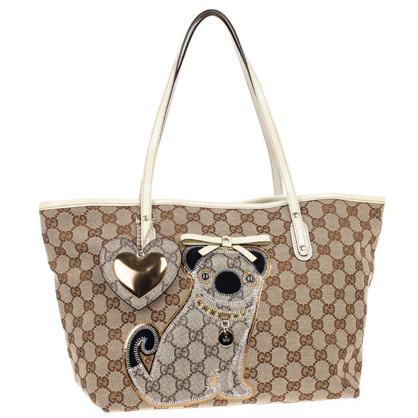 Gucci Brown Monogram Guccioli Oliver Embroidery Medium Tote