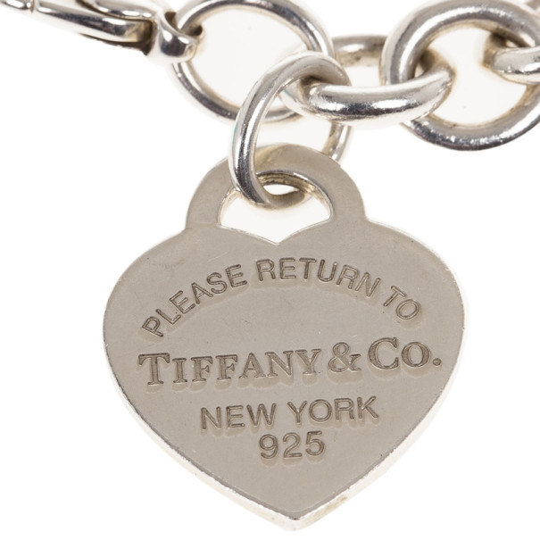 Tiffany & Co. Return To Tiffany Heart Tag Charm Silver Bracelet 18CM
