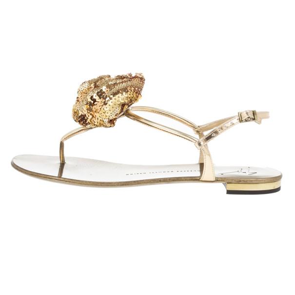 Giuseppe Zanotti Sequin Flower Thong Sandals Size 39