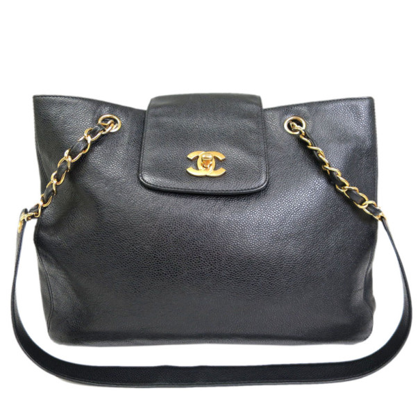 Chanel Black Caviar Supermodel Shoulder Bag
