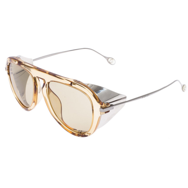 Gucci Brown Optyl Aviators With Metal Blinkers Women's Sunglasses