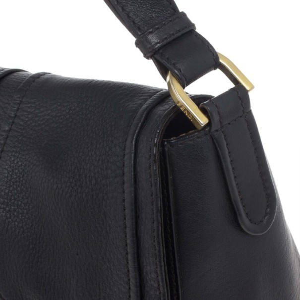 Fendi Black Pebbled Leather Front Flap Crossbody Bag