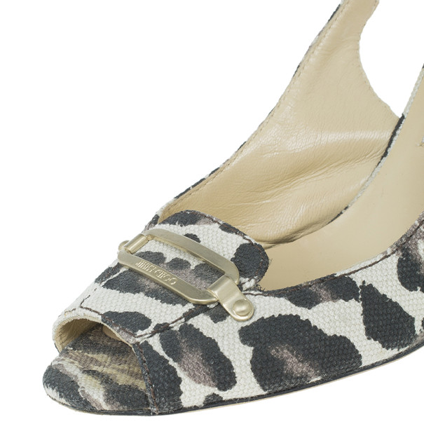 Jimmy Choo Leopard Print Canvas Slingback Sandals Size 39.5