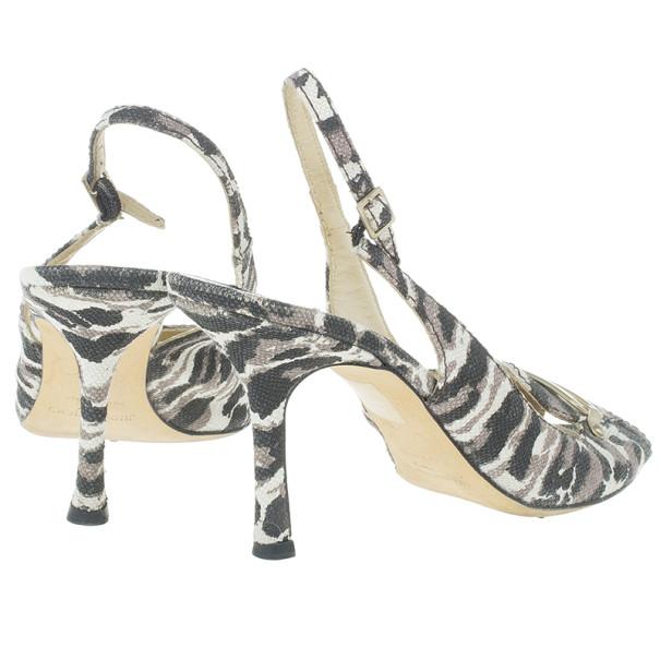 Jimmy Choo Leopard Print Canvas Slingback Sandals Size 39.5