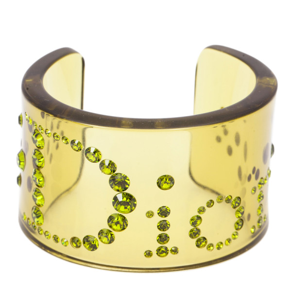 Dior Vintage Lucite Crystal Green Bangle