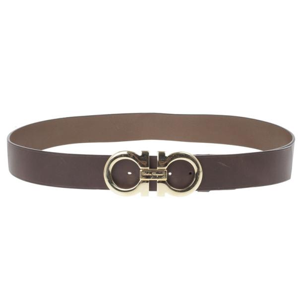 Salvatore Ferragamo Black Leather Gancini Buckle Belt 105 CM