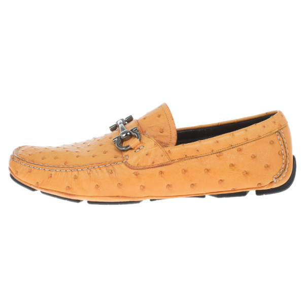Salvatore Ferragamo Orange Parigi II Ostrich Driver Size 45