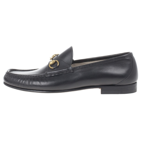 Gucci Black Leather 1953 Horsebit Loafers Size 45.5