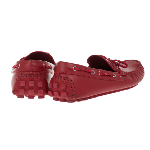 Louis Vuitton Red Leather Arizona Loafers Size 45