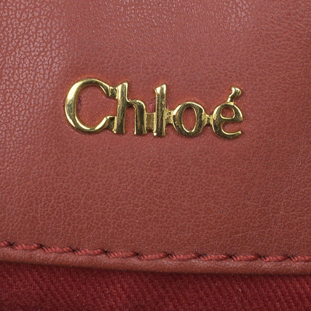 Chloe Red Leather Shopping Tote