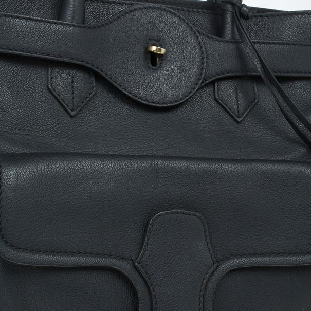 Balenciaga Black Leather Lune Tote
